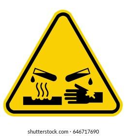 corrosive warning sign, chemical hazard sign