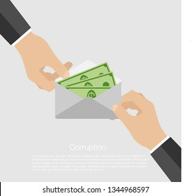 Corrupt man received money in an envelope. Man giving bribe money in a grey envelope to another businessman in a corruption scam. Isolated illustration