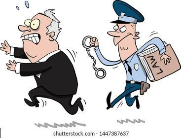 Corrupt politician running from the long arm of the law