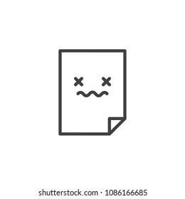 Corrupted file document outline icon. linear style sign for mobile concept and web design. Bad file simple line vector icon. Symbol, logo illustration. Pixel perfect vector graphics
