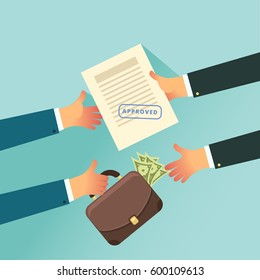 Corruption and Bribery in business concept. Insider trading. Two business people holding in their hands approved paper and case of money. Vector illustration in flat style