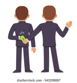 Corruption and bribery concept. People in business suits giving bribe behind back. Cartoon vector illustration.