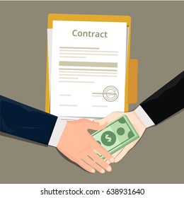corruption bribery and money gratification by businessman with contract document project dealing