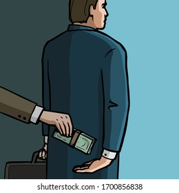 Corruption concept. Official takes bribe money from behind. Businessman hand giving bills. Vector illustration.