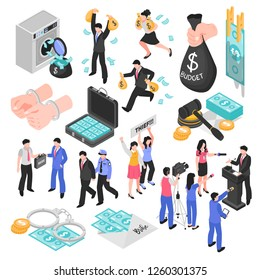 Corruption and dishonesty isometric set decorative icons representing corrupt judge business and politics embezzlement and bribery isolated vector illustration