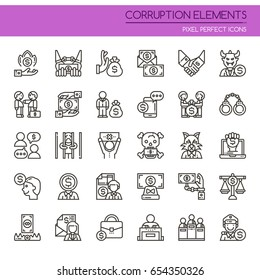 Corruption Elements , Thin Line and Pixel Perfect Icons