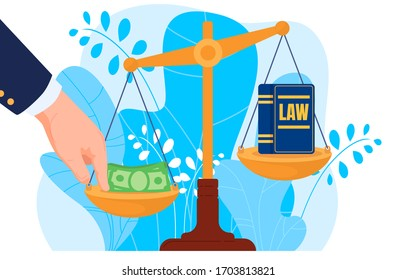 Corruption, hand put money on scale, bribery, law, isolated on white, flat vector illustration. Corrupt practices in legal system, jurisprudence, judicial practice, design banner, leaf background.