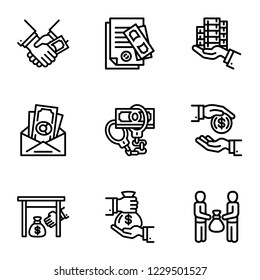Corruption icon set. Outline set of 9 corruption vector icons for web design isolated on white background