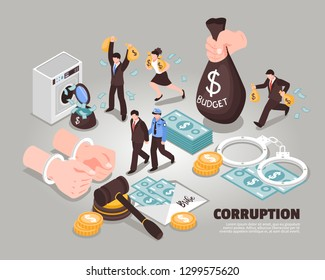 Corruption isometric vector illustration  Included icons symbolizing laundering bribery embezzlement corrupt judge corrupt politician