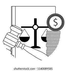 Corruption law judicial, verdict collaboration for money line icon. Vector illustration