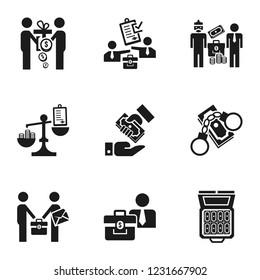 Corruption money icon set. Simple set of 9 corruption money vector icons for web design isolated on white background