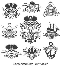 Corsair logo set in vintage style. Tattoos with pirate skulls.