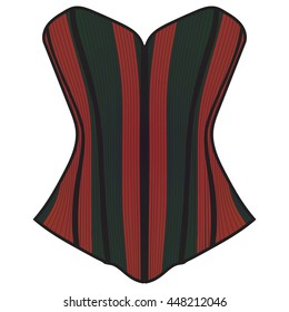Corset, red and black corset