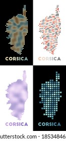 Corsica map. Collection of map of Corsica in dotted style. Borders of the island filled with rectangles for your design. Vector illustration.