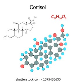 Cortisol. Chemical structural formula and model of hormone molecule. C21H30O5. Cortisol is released in response to stress and low blood-glucose concentration. Hormone for suppress the immune system