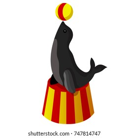 Cortoon. The circus seal on the pedestal keeps the ball on its nose