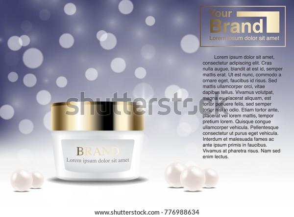 Cosmetic Ad Concept Luxury Cream Mockup Stock Vector (Royalty Free