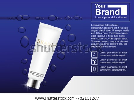 Cosmetic Ad Concept Mockup 3 D Illustration Stock Vector