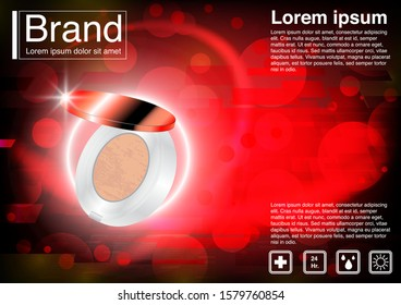 Cosmetic ad concept powder puff vector. Luxury mockup. 3D illustration and EPS10 Vector. Use for banner, website, template, leaflet, brochure, poster and other design