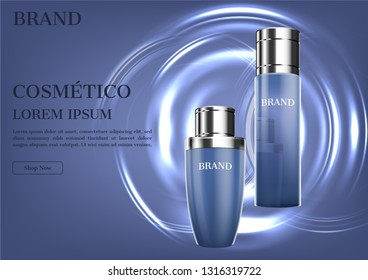 Cosmetic ad, moisturizer and serum template mockup