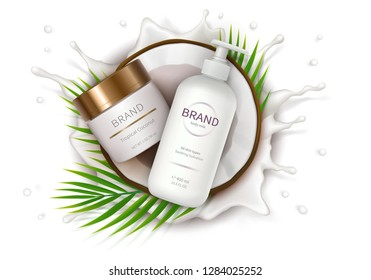 Cosmetic ad realistic vector. White jar and dispenser bottle lies in half of coconut on background of milk splash. Mock up promo banner for catalog, concept poster for natural organic cosmetics