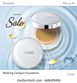 cosmetic ad suitable for social media websites, two foundation cases and yellow petals on water ripples, 3d illustration