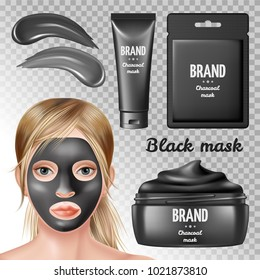Cosmetic ads elements, charcoal black mask. Girl in spa salon. 3d realistic vector illustration.