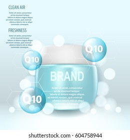 Cosmetic ads template, cream glass bottle.