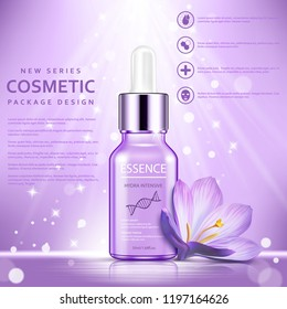 Cosmetic ads template, essence bottle with flower and glitter elements on the background, vector illustration