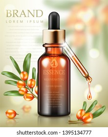 Cosmetic ads template. Essence bottle with sea buckthorn and sea buckthorn oil drop on bokeh background. Vector illustration