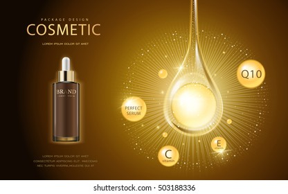 Cosmetic ads template, glass droplet bottle with essence oil drop isolated on brown background. 3D illustration. Q10, vitamin and other ingredients showing on the poster.