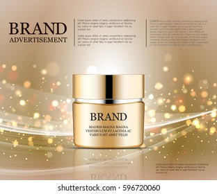 Cosmetic ads template, Realistic Cosmetic bottle. Container for cream, foams and other cosmetics bottle mockup on dazzling background. Golden foil and bokeh elements. 3D illustration.