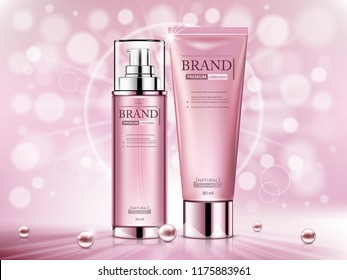 Cosmetic ads template, Realistic Cosmetic bottles.