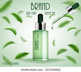 Cosmetic ads template treatment. Green tea skin care serum bottle with tea leaves and essence drop. 3d cosmetic product design illustration