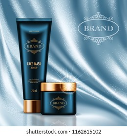 Cosmetic advertising poster with realistic containers for skin care products on light blue smooth satin fabric background. Mockup for promoting your brand. Vector illustration