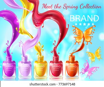 Cosmetic background, open bottles with nail polish with splashes in form of butterflies, 3d realistic vector . Mock up, template packaging design with brand information, promo poster for nail lacquer