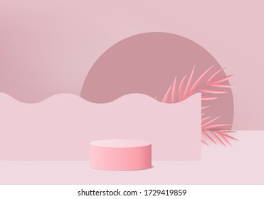 cosmetic background podium. minimal scene with geometrical forms. Cylinder podium in pink background with fern leaves. Scene to show cosmetic product, Showcase. 3d vector render for product display.