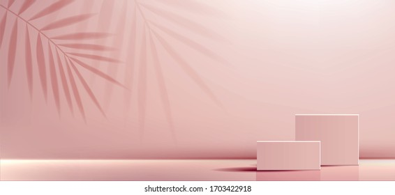 Cosmetic background for product, branding and packaging presentation. geometry form square molding on podium stage with shadow of leaf background. vector design.