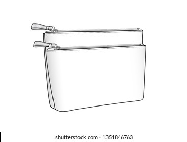cosmetic bag, daily zip pouch vector illustration sketch template