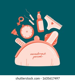 Cosmetic bag with different menstrual hygiene products and lettering isolated on colorful background. For card, poster, magazine, blog, social media, pharmacy, hospital, broshure, design.