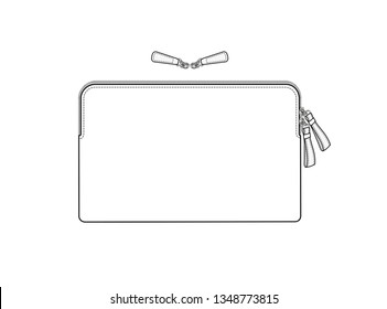cosmetic bag with double slider zipper, daily zip pouch vector illustration sketch template