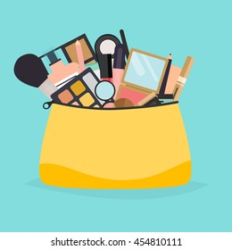 Cosmetic bag with makeup stuff. Beauty style isolated on white background.