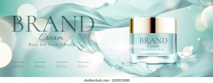 Cosmetic banner ads with face cream jar and flying chiffon, 3d illustration bokeh glittering background