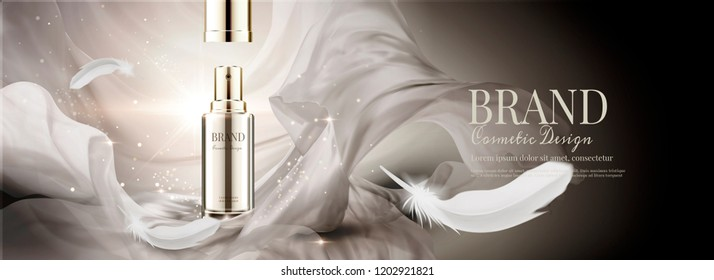 Cosmetic banner ads with flying chiffon and feathers, 3d illustration bokeh glittering background