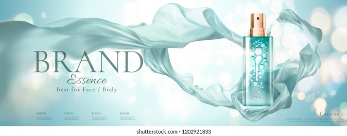 Cosmetic banner ads with spray bottle and flying chiffon, 3d illustration bokeh glittering background