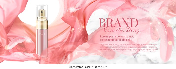 Cosmetic banner ads with spray bottle and flying chiffon, 3d illustration