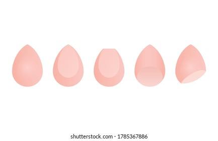 Cosmetic Beauty Foundation Blender Sponge,  Makeup Sponge Isolated Vector Icon Illustration Background