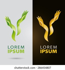 Cosmetic and beauty services logo with plantlike organic hands and leaf fingers