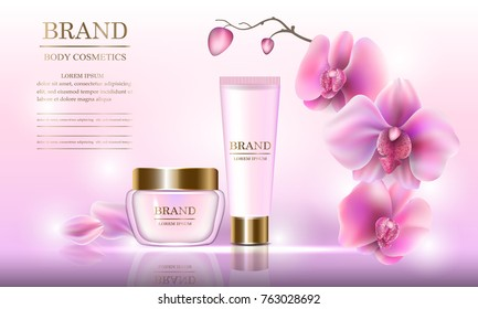 Cosmetic beauty set of body cream for skin care with orchids on a pink background. Template for banners, pages, presentations, advertising, vector illustration