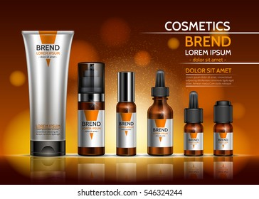 Cosmetic body oil. Design a set of bottles and packaging of the cream on an orange background. Vector illustration